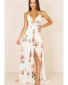 Showpo Shine Through maxi dress in white floral - 10 (M) Occasion