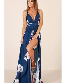 Showpo Shine Through maxi dress in navy floral - 10 (M) Occasion