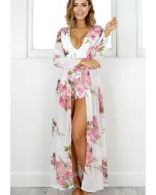 Showpo Steal the Show playsuit in white floral - 20 (XXXXL) Maxi