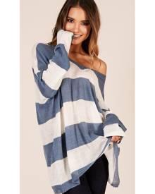 Showpo Coastal Envy knit in blue stripe - S/M Knitwear