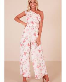 Showpo Long Lost Love jumpsuit in white floral - 6 (XS) Playsuits &