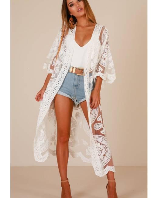Showpo Off The Grid kimono in white - S/M Jackets