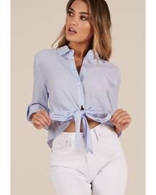 Showpo Truth Be Told shirt in blue stripe - 12 (L) Long Sleeve