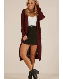 Showpo Crazy In Love cardigan in wine - 10 (M) Cardigans