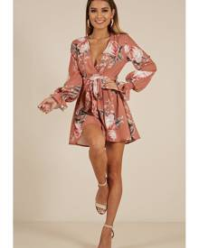 Showpo Almost Heaven Playsuit in rust floral - 6 (XS) Playsuits &