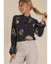 Showpo Dont Rush Top in navy floral - 4 (XXS) Long Sleeve