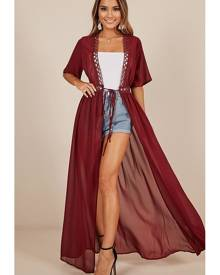 Showpo If You Leave Kimono in wine - 10 (M) Jackets