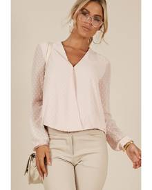 Showpo Grown Woman Top in blush  - 4 (XXS) Long Sleeve