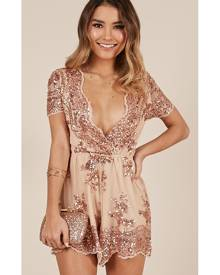 58bcff3dd7 Showpo Baby Come Back Playsuit in rose gold sequins - 16 (XXL)