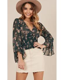 Showpo Crack Of Dawn Top in green floral - 10 (M) Long Sleeve