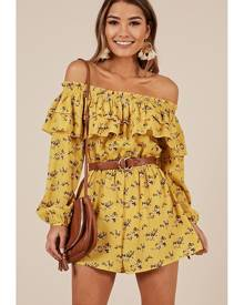 Showpo Nothing Better Playsuit in yellow floral - 10 (M) Playsuits &