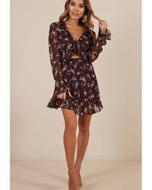 Showpo Almost Over Dress in plum floral - 8 (S) Casual Dresses