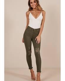 Showpo Anna Skinny Jeans in khaki - 14 (XL) Jeans