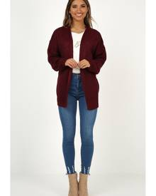 Showpo Love You Endlessly cardigan in wine - 10 (M) Cardigans