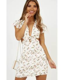 Showpo Follow Me Home Dress in White Floral - 14 (XL) Casual Dresses
