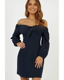 Showpo Little Details dress in navy linen look - 12 (L) Casual Dresses