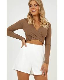 Showpo Shape of My Heart Top in mocha - 14 (XL) Long Sleeve