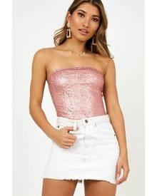 Showpo Love Me Tender Bodysuit in Blush Sequin - 10 (M) Crop Tops