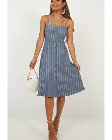 Showpo Sunday Afternoons Dress in navy stripe - 12 (L) Casual Dresses