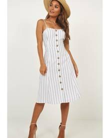 Showpo Sunday Afternoons Dress in white stripe - 10 (M) Longer Dresses