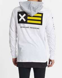 Nena & Pasadena Dragonuv Hooded Long Sleeve T-Shirt W/ Layered Hem White