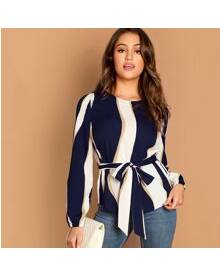 ROMWE Self Belted Striped Top