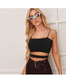 ROMWE Solid Cut Out Crop Cami Top