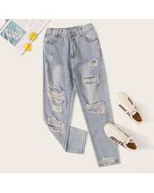 ROMWE Distressed Mom Jeans