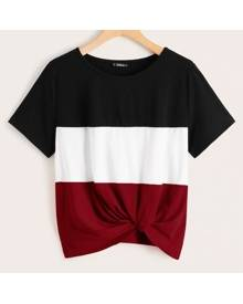 ROMWE Colorblock Twist Hem Top