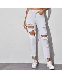 ROMWE Ripped Detail Cropped Jeans Without Belt