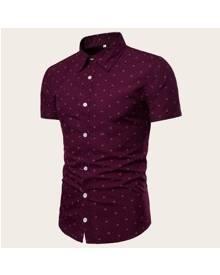 ROMWE Guys Anchor Print Curved Hem Shirt