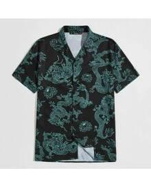 ROMWE Guys Notch Collar Allover Dragon Print Shirt