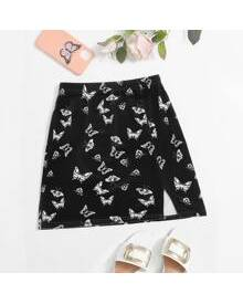 ROMWE Butterfly Print Split Hem Skirt