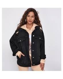 ROMWE Drop Shoulder Ripped Oversized Denim Jacket