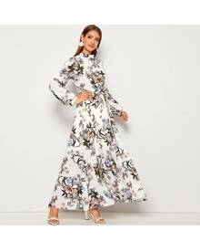 ROMWE Allover Floral Print Self Tie Swing Maxi Dress