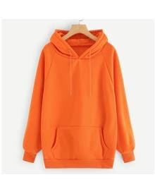 ROMWE Neon Orange Raglan Sleeve Kangaroo Pocket Hoodie
