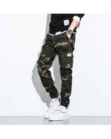 ROMWE Guys Camo Flap Pocket Cargo Pants