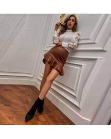 ROMWE Ruffle Hem Mini PU Skirt