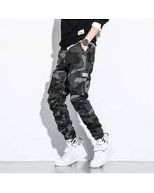 ROMWE Guys Camo Print Flap Pocket Cargo Pants
