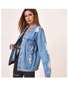 ROMWE Button Front Ripped Denim Jacket