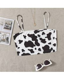 ROMWE Cow Print Cami Crop Top