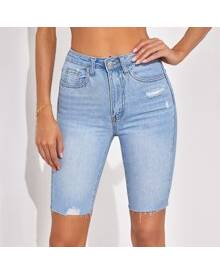 ROMWE Raw Hem Ripped Denim Shorts