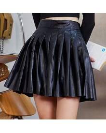 ROMWE PU Leather Pleated Skirt