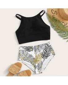 ROMWE Tropical High Waist Bikini Swimsuit