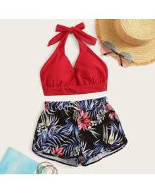 ROMWE Halter Tropical Shorts Bikini Swimsuit