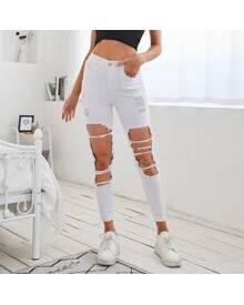 ROMWE High Waist Ripped Skinny Crop Jeans