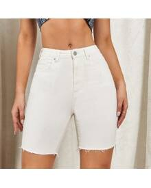ROMWE Zipper Fly Raw Hem Denim Shorts