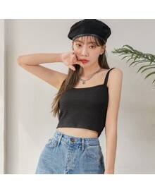 ROMWE Solid Spaghetti Strap Crop Cami Top