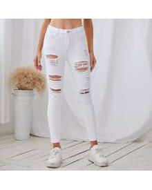 ROMWE High Waist Ripped Crop Jeans