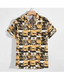 ROMWE Guys All Over Print Button Front Shirt